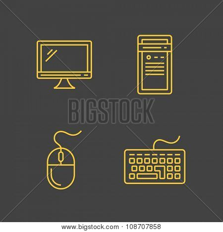 Computer devices and computer peripherals. Vector outlined icons. Linear style