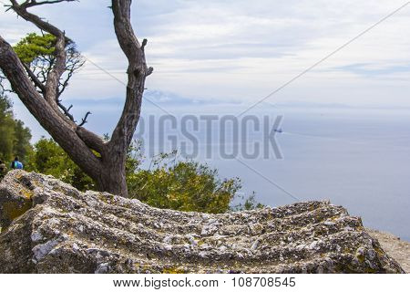 background landscape view of the Straits of Gibraltar and the coast of Africa in the distance