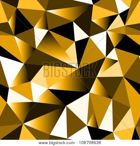 Abstract Golden Gradient Geometric Rumpled Triangular Seamless Low Poly Style Background