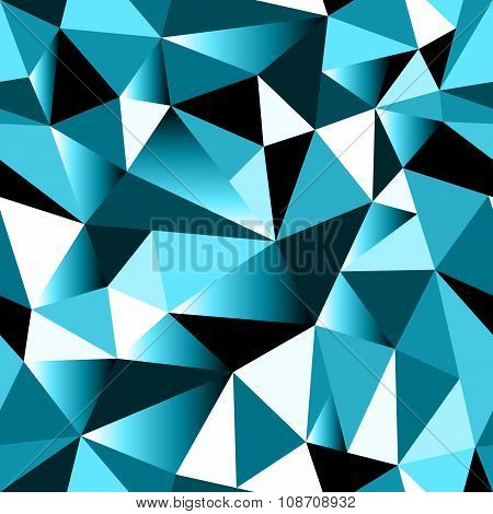 Abstract Cyan Gradient Geometric Rumpled Triangular Seamless Low Poly Style Background