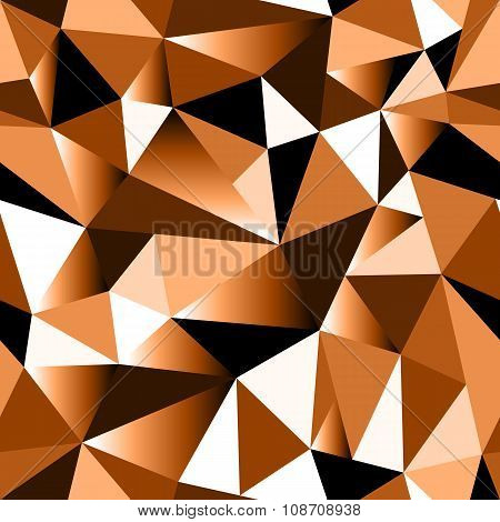 Abstract Brown Gradient Geometric Rumpled Triangular Seamless Low Poly Style Background