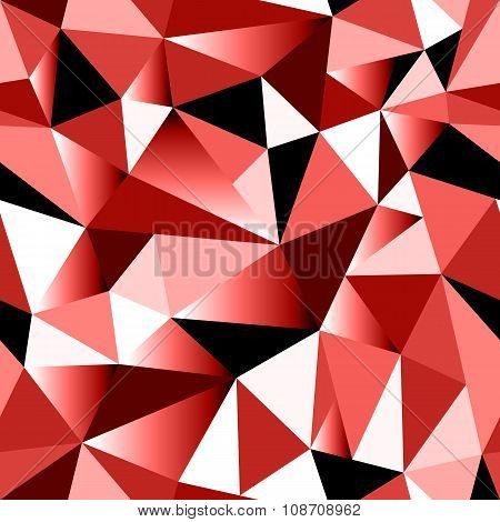 Abstract Red Gradient Geometric Rumpled Triangular Seamless Low Poly Style Background
