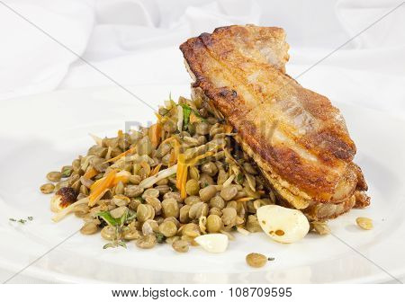 Baked Pork Belly With Lentil