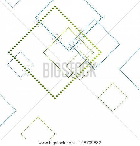 Abstract blue and green squares on white. Vector background
