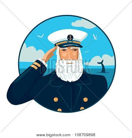Old bearded captain with cap