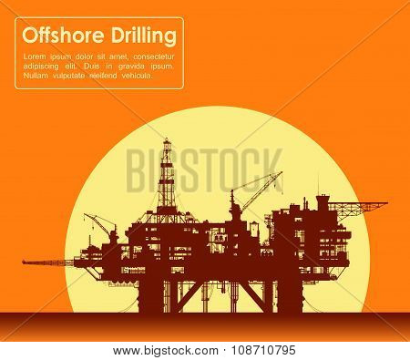 Sea oil rig. Offshore drilling platform.