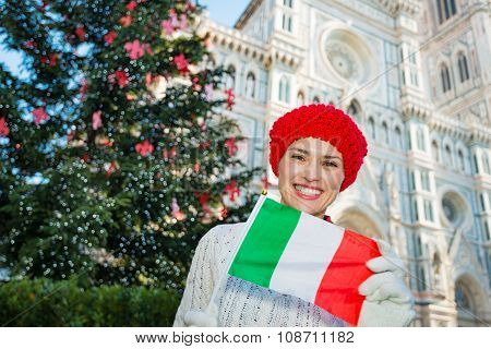 Woman With Italian Flag Standing Near Christmas Tree, Florence