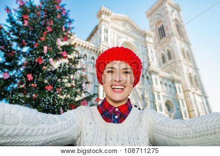 Woman Tourist Taking Selfie In ?hristmas Decorated Florence