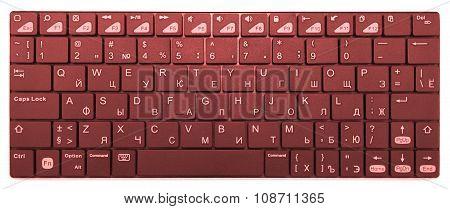 Orange Chrome Modern Laptop Bluetooth Keyboard Isolated On White