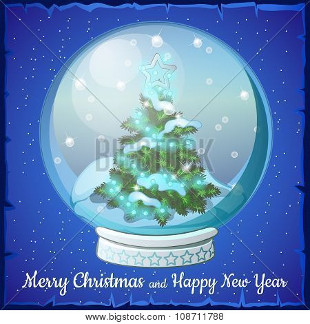 Christmas ball with snowflakes and Christmas tree inside it. Blue background