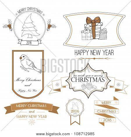 Christmas Decorations Vector Design Elements. Typographic Elements, Symbols, Icons, Vintage Labels,