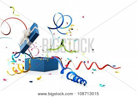 Ribbon And Confetti Popping Out From Blue Gift Box