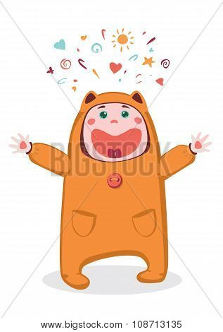 Child in costume laughing