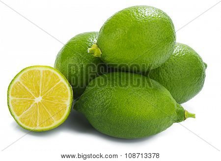 Heap of fresh lemon isolated on white background.