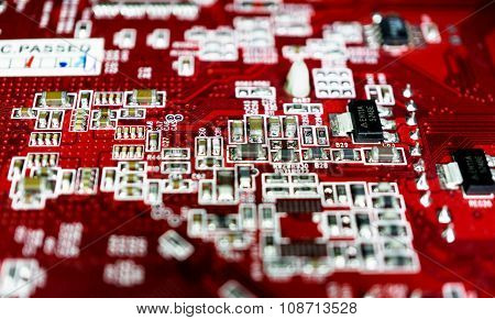 Red Computer Motherboard With Blur Effect Macro