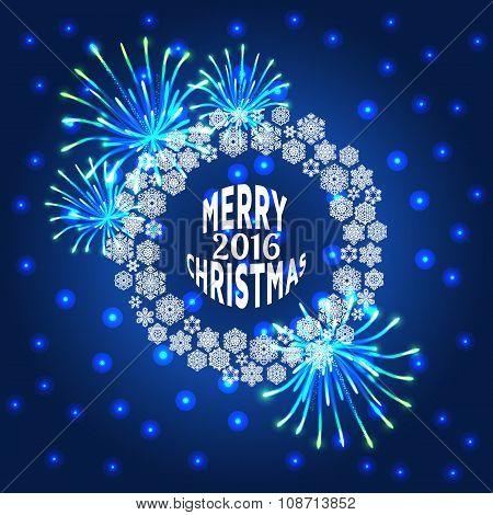 Merry Christmas  2016 Vector illustration.