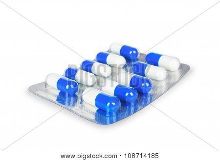 Blue Medication Capsules In Blister Pack Close-up Isolated On A White Background