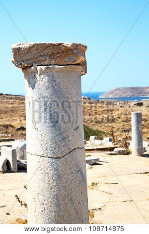 Archeology  In Delos Greece  Historycal  Old Ruin Site