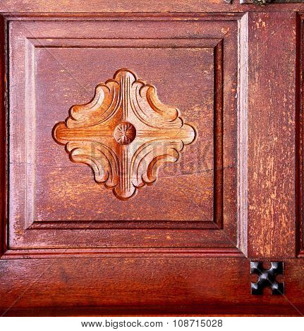 Spain Knocker Lanzarote  Door Wood In The Red Brown