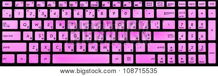 Modern Black And Violet Laptop Keyboard Isolated