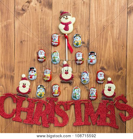 Chocolate Santas, Snowman And Biscuits And Letters Christmas