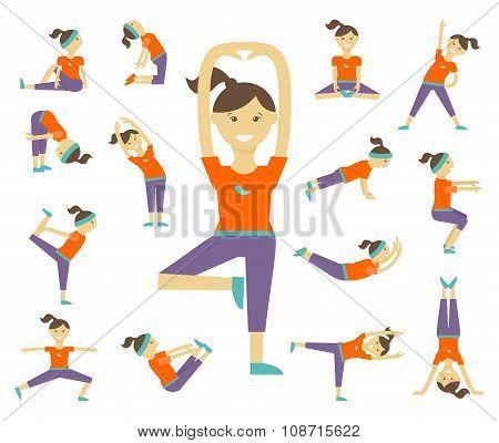 Female yoga poses