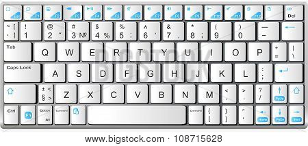 Modern White With Blue Laptop Bluetooth Keyboard Isolated