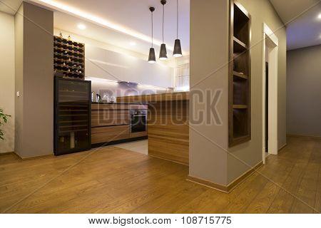 Kitchen Interior In Spacious Apartment
