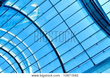 contemporary blue glass ceiling inside business office center