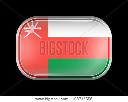 Flag Of Oman. Rectangular Shape With Rounded Corners