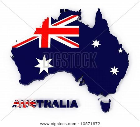 Australia, Map with Flag