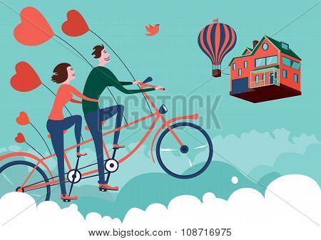 Man and woman on sky bike tour