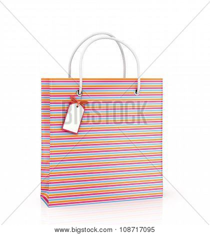 Coloured Package With Tags On White Background.