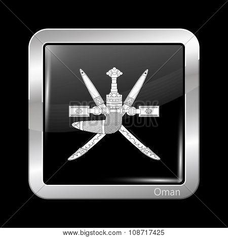 Emblem Of Oman. Metallic Icon Square Shape