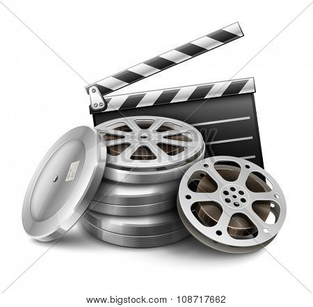 Movie film disk with tape and directors clapper for cinematography filmmaking. vector illustration. Isolated on white background. Transparent objects used for lights and shadows drawing.