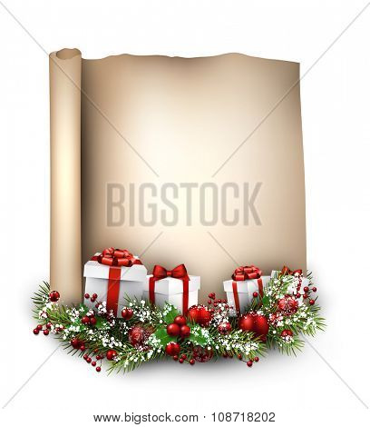 New Year congratulatory background with gifts. Vector illustration.