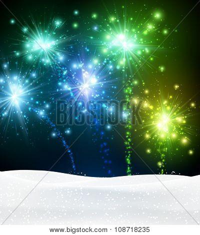 Festive xmas colour firework background. Vector illustration.