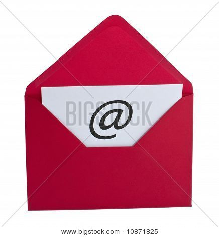 Email Symbol In Red Envelope