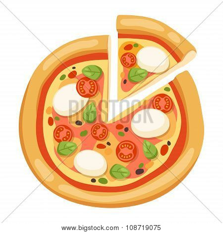 Pizza flat icons isolated on white background