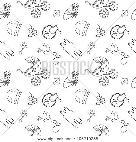 Monochrome baby seamless pattern.