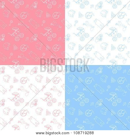 Set of 4 baby seamless pattern