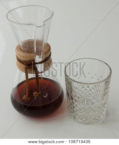 Chemex coffeemaker and glass