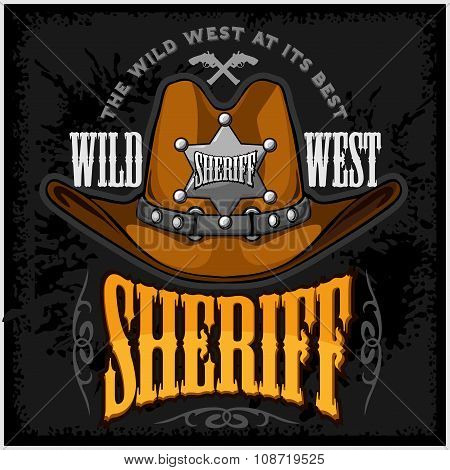 Cowboy hat and sheriffs star - vector badge emblem