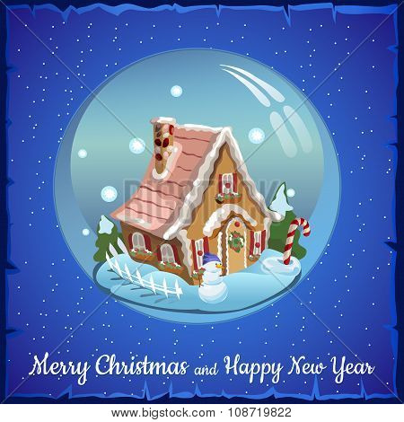 Christmas ball with fabulous house and Christmas decoration inside it. Blue background