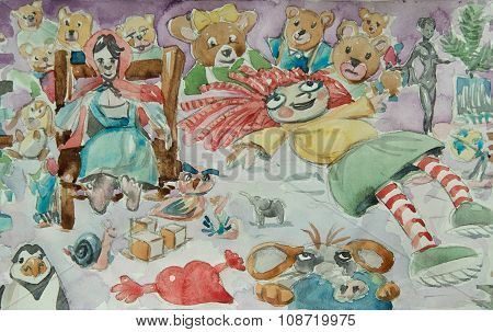 Dolls Watercolor Illustration