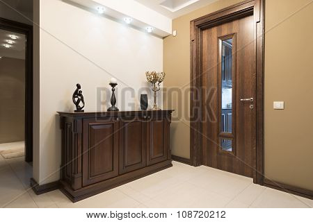 Modern Anteroom Interior In Brown Tones