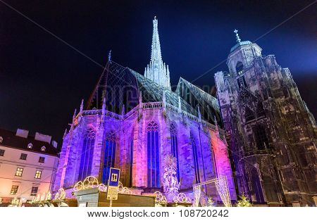Saint Stephen's Cathedral in the night at Christmas, Vienna, Austria