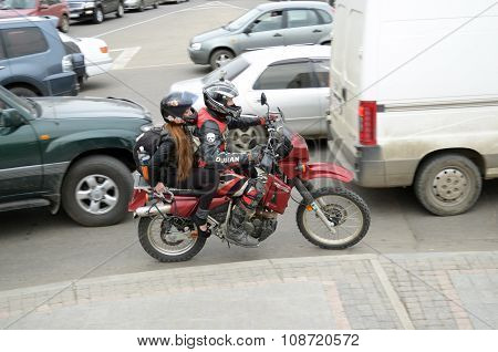 Irkutsk, Russia - May, 18 2015: Motorbikes Between Cars On City Street In Irkutsk