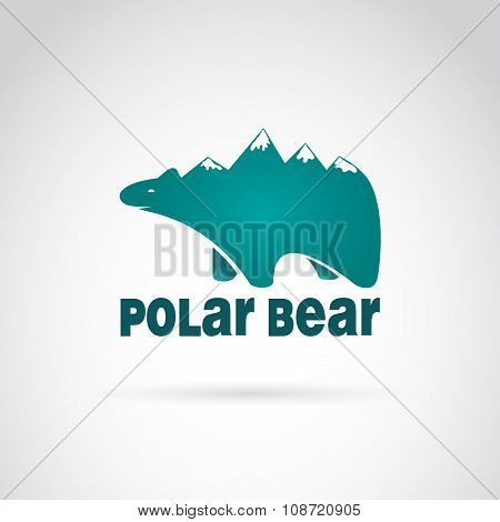 Vector Image Of Bear With Mountains On The Back. Polar Bear