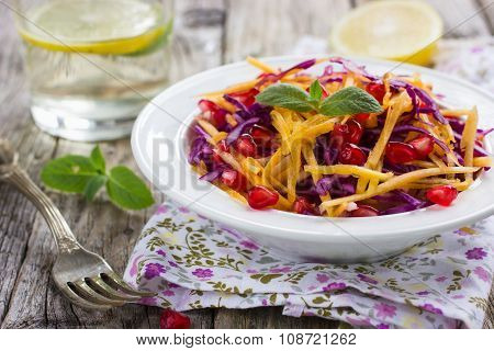 Salad With Pumpkin, Apple And Red Cabbage